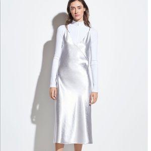 Vince metallic satin slip dress in silver NWT